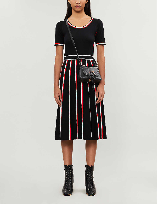 Claudie Pierlot Moto Scalloped-trim Wool-blend Midi Dress In Multico