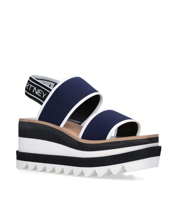 Stella Mccartney Sneak Elyse Nylon Flatform Sandals In K462 Navy