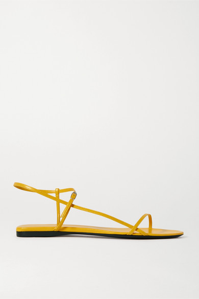 The Row Nude Criss-crossed Leather Sandals In Yellow