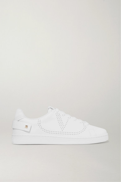 Valentino Garavani Perforated-logo Shearling-lined Leather Trainers In White