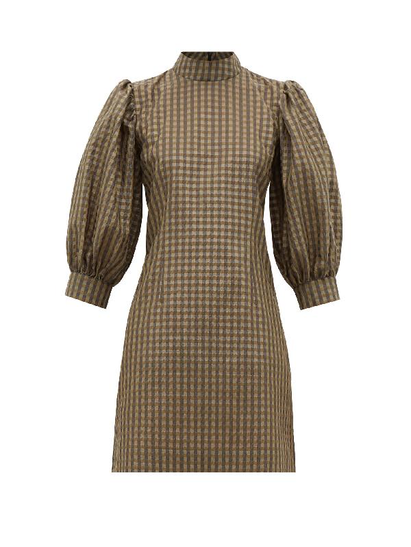 Ganni Puff-sleeve Gingham Seersucker Mini Dress In Khaki