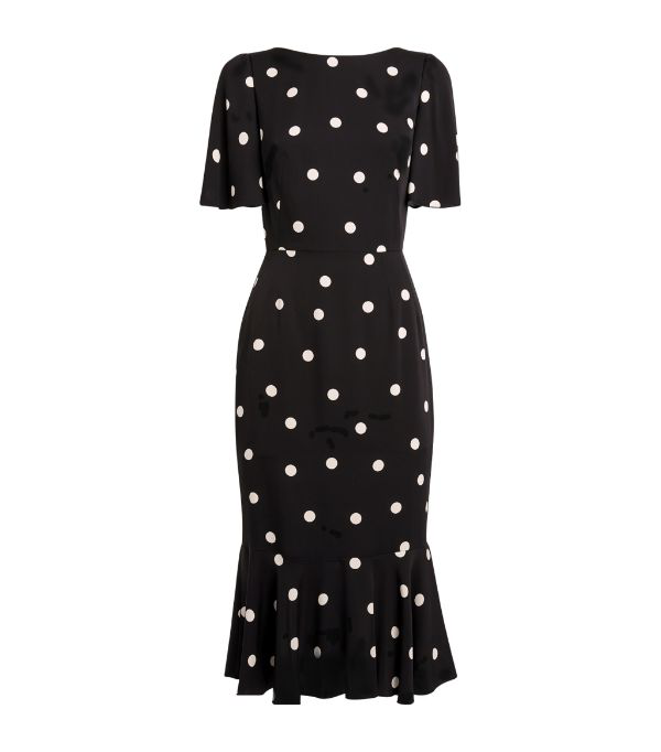 Dolce & Gabbana Charmeuse Flutter-hem Polka Dot Sheath Dress In Black