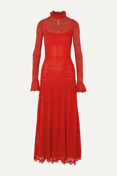 Alexander Mcqueen Ruffled Crocheted Cotton-blend Lace Maxi Dress In Rot