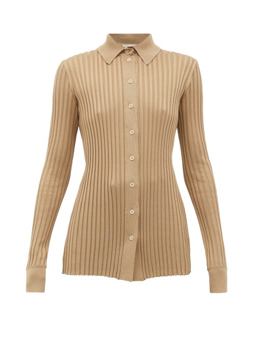 Bottega Veneta Ribbed-knit Silk Cardigan In Brown