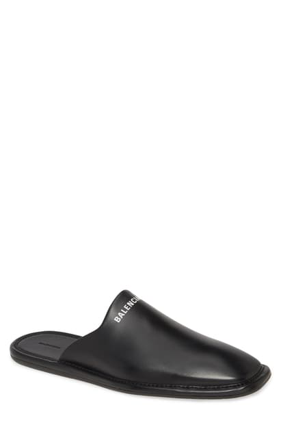 Balenciaga Logo-print Backless Leather Loafers In Black/white