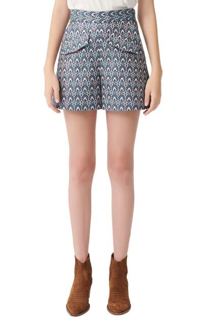 Maje Metallic Jacquard Trapeze Shorts In Light Blue