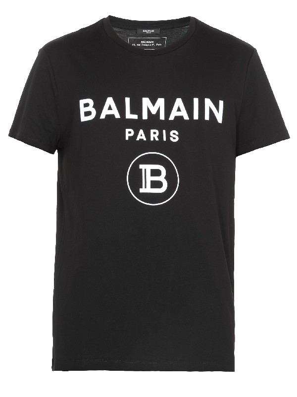 Balmain Metallic Print Cotton Jersey T-shirt In Eab Noirbla