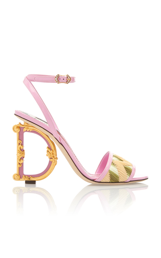 Dolce & Gabbana Embellished Heel Leather And Raffia Sandals In Pink