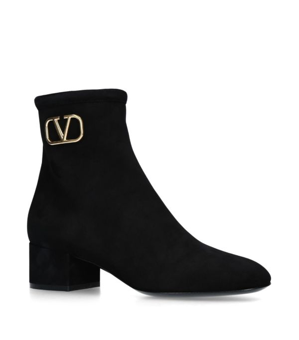 Valentino Garavani Garavani Vlogo 45 Black Suede Ankle Boots