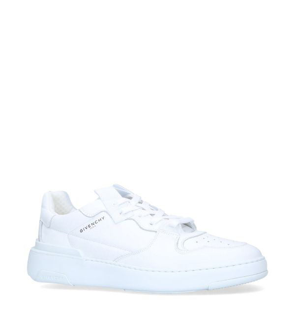 Givenchy Wing Grosgrain-trimmed Full-grain Leather Sneakers In White