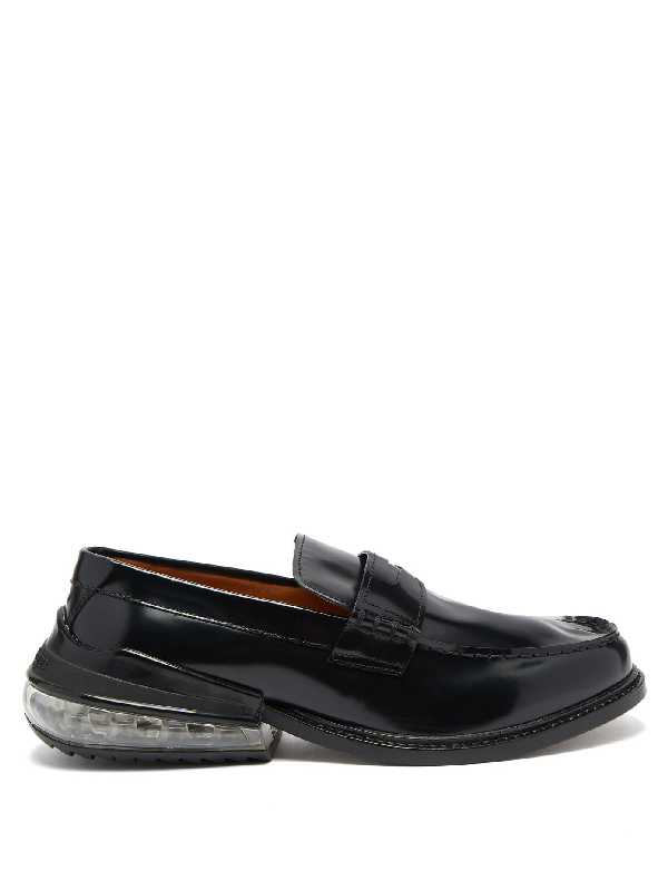 Maison Margiela Polished-leather Penny Loafers In Black
