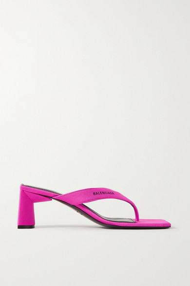 Balenciaga Logo-embossed Backless Woven Heeled Sandals In Fuchsia