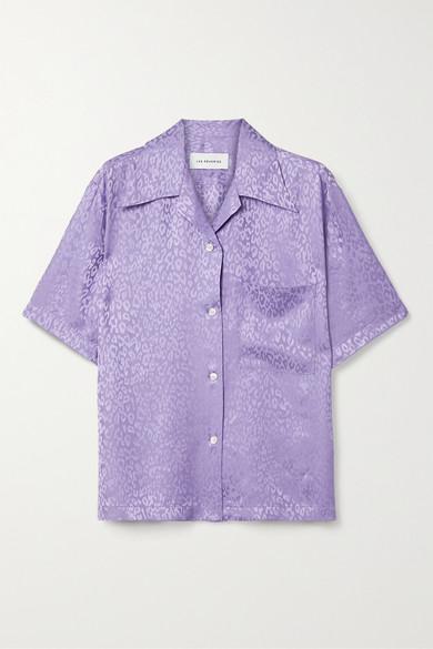 Les Rêveries Silk-satin Jacquard Shirt In Lavender