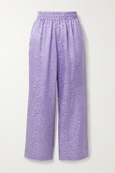 Les Rêveries Silk-satin Jacquard Straight-leg Pants In Lavender