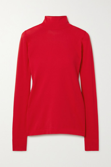 Les Rêveries Stretch-knit Turtleneck Top In Red