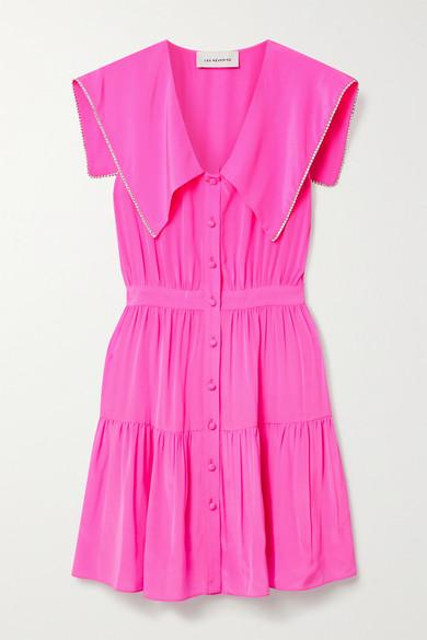 Les Rêveries Tiered Crystal-embellished Neon Silk Crepe De Chine Mini Dress In Pink
