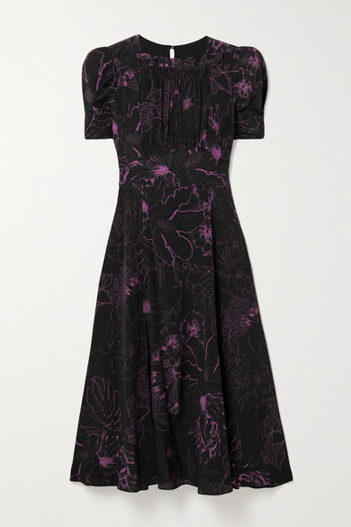 Les Rêveries Floral-print Silk Crepe De Chine Midi Dress In Black