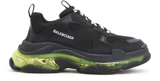 Balenciaga Triple S Airsole Leather And Mesh Trainers In Black