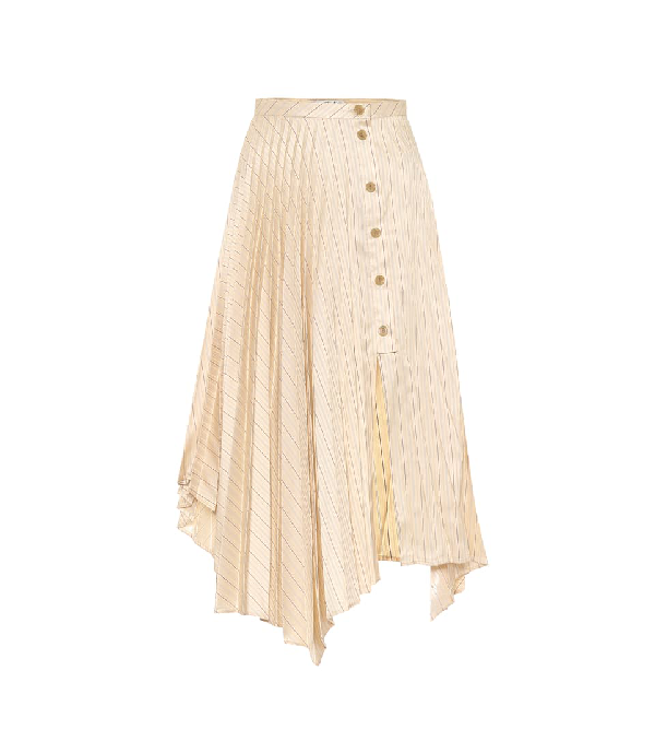 Acne Studios Asymmetric Pleated Striped Satin-twill Midi Skirt In Neutrals