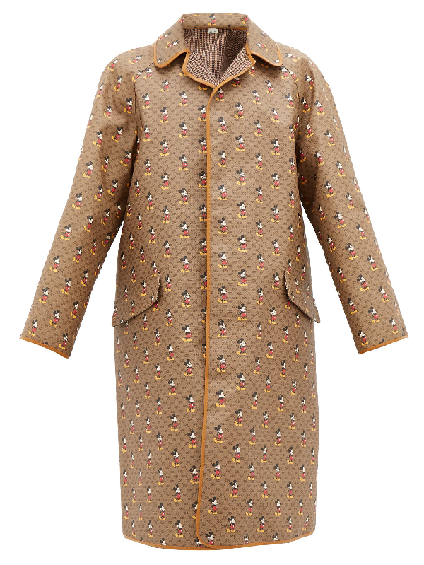 Gucci Disney Reversible Leather-trimmed Printed Coated-canvas And Wool Coat In Brown