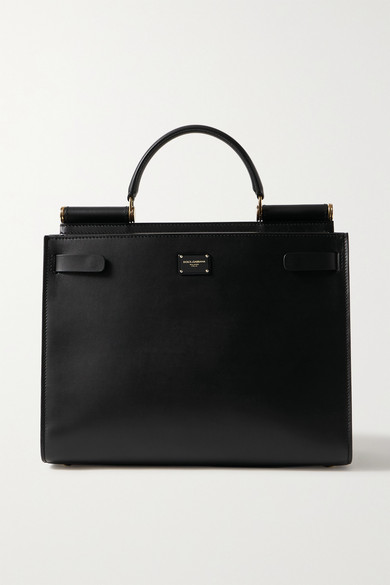 Dolce & Gabbana Sicily 62 Small Leather Top Handle Bag In Black
