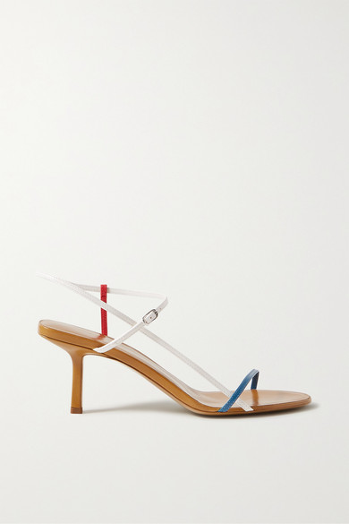 The Row Nude Criss-crossed Leather Heeled Sandals In Blue ,white