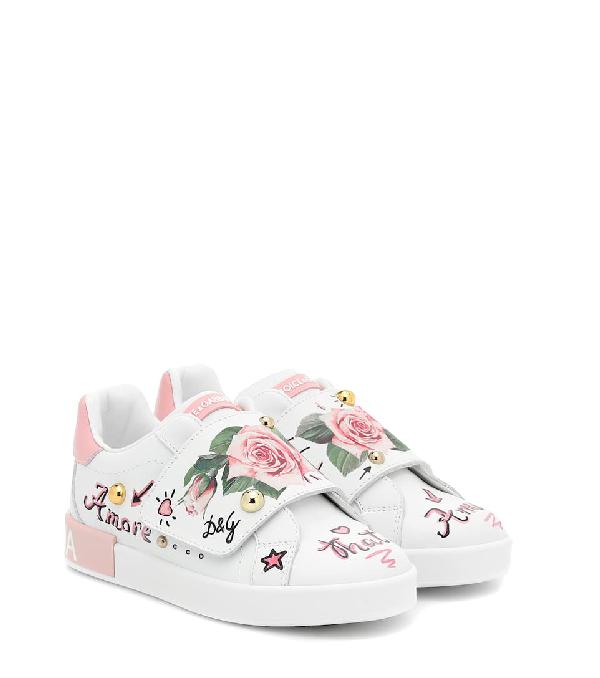 Dolce & Gabbana Kids' Portofino Floral Leather Sneakers In White