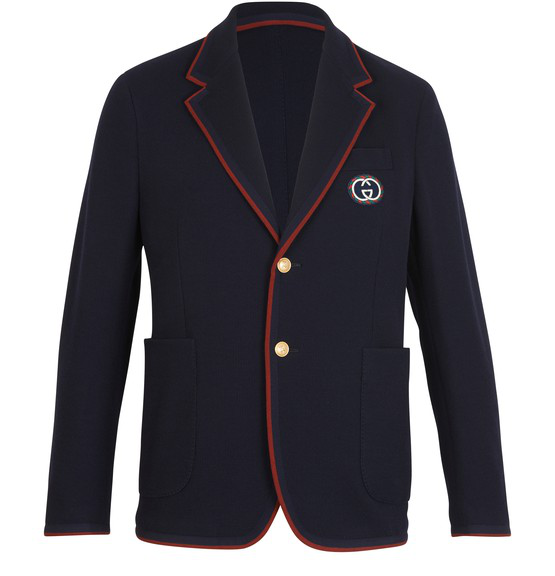 Gucci Palma Wool & Cotton Jersey Sport Coat In 4440 Ink