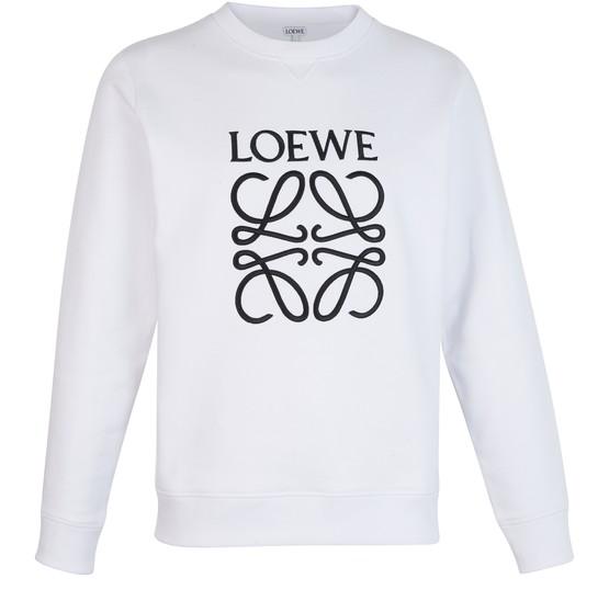 Loewe Slim-fit Logo-embroidered Loopback Cotton-jersey Sweatshirt In White