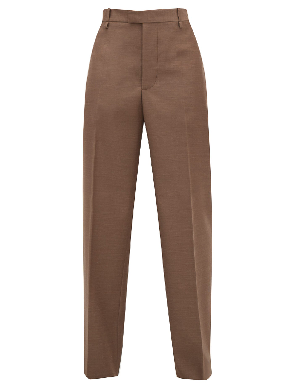 Bottega Veneta High-rise Wool Wide-leg Trousers In Light Brown