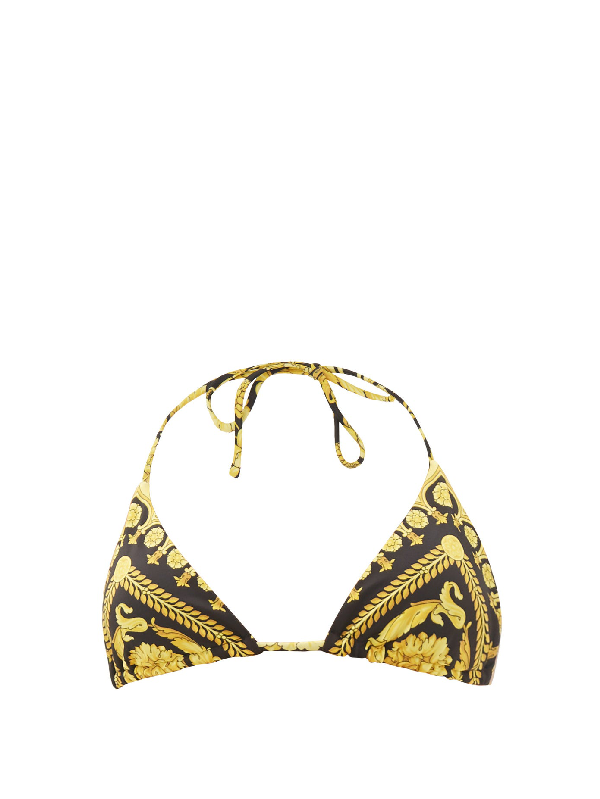 Versace Printed Triangle Halterneck Bikini Top In Gold