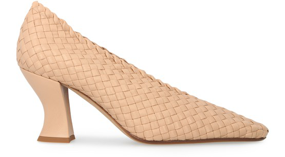 Bottega Veneta Intreccio Block-heel Woven Leather Courts In Brown