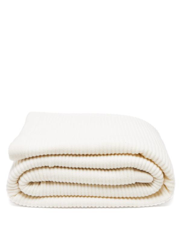 Brunello Cucinelli Rib-knitted Cashmere Blanket In Light Beige