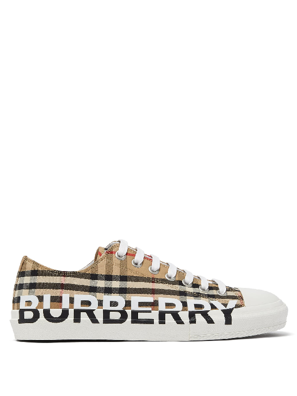Burberry Larkhall Checked Cotton-gabardine Low-top Trainers In Archive Bei