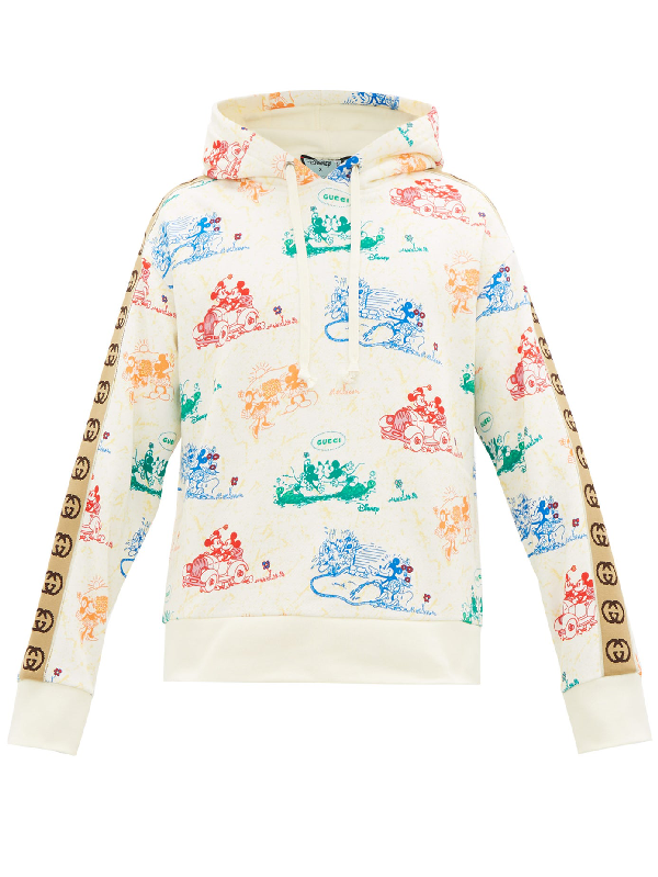 Gucci Disney Webbing-trimmed Printed Loopback Cotton-jersey Hoodie In 9510 Ivory