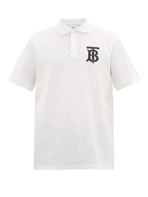 Burberry Winford Logo-embroidered Cotton-pique Polo Shirt In White