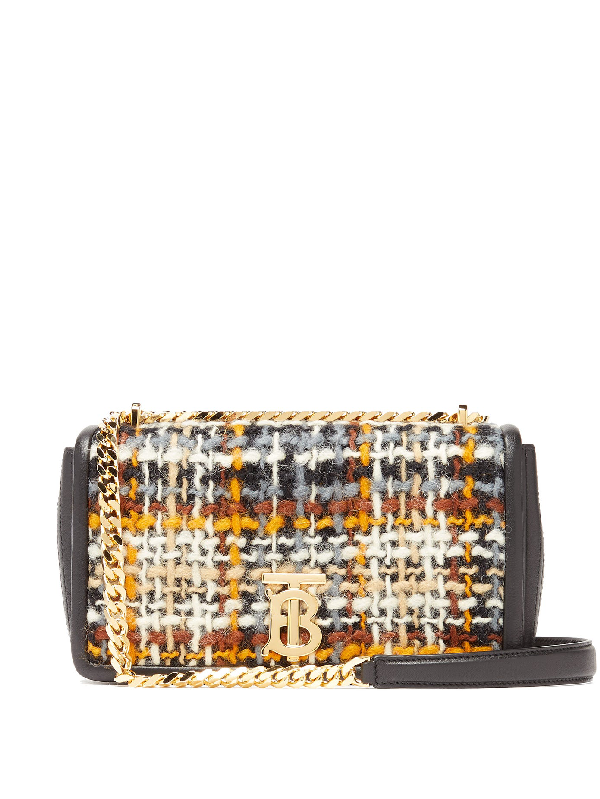 Burberry Lola Small Tweed And Leather Shoulder Bag In Black