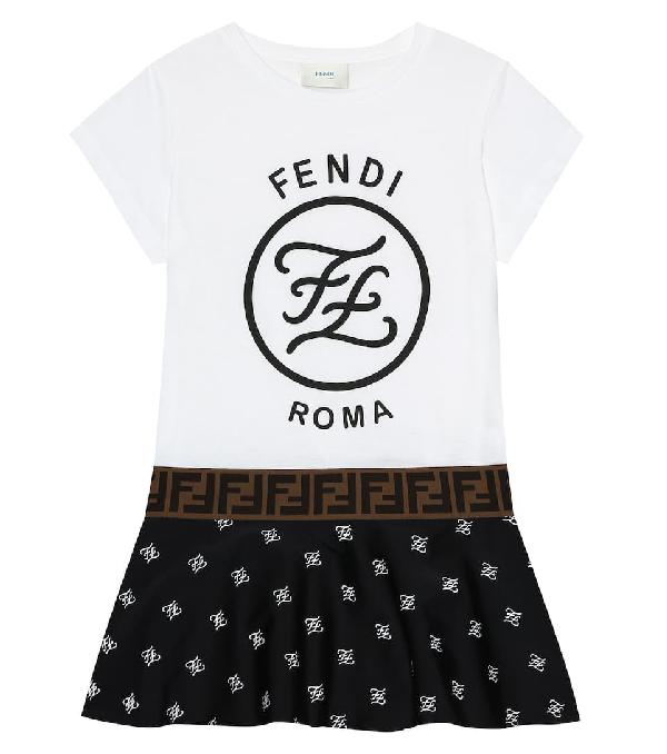 Fendi Kids' Girl's Short-sleeve Mixed Logo Dress In White