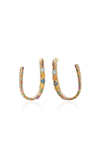 Aron & Hirsch Curva 18k Gold And Sapphire Earrings