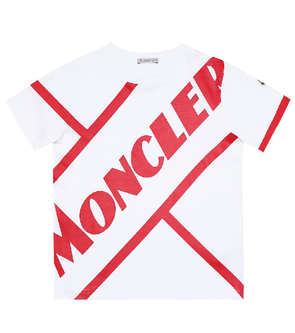 Moncler Kids' Logo Print Cotton Jersey T-shirt In White