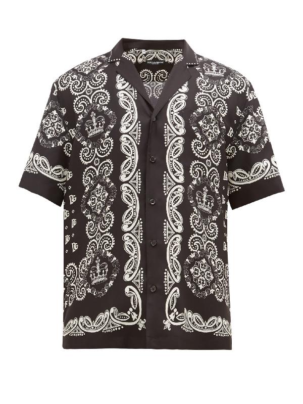 Dolce & Gabbana Dolce And Gabbana Black And White Silk Hawaiian Shirt In Hn74c Black
