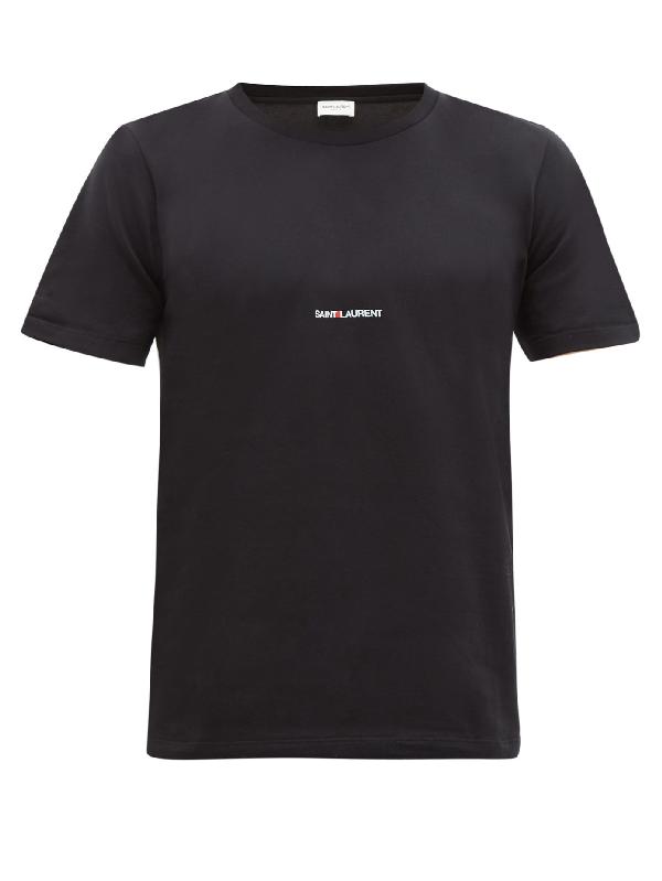 Saint Laurent Slim-fit Logo-print Cotton-jersey T-shirt In Black