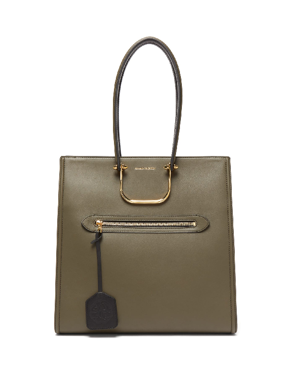 Alexander Mcqueen The Tall Story Leather Tote Bag In Green