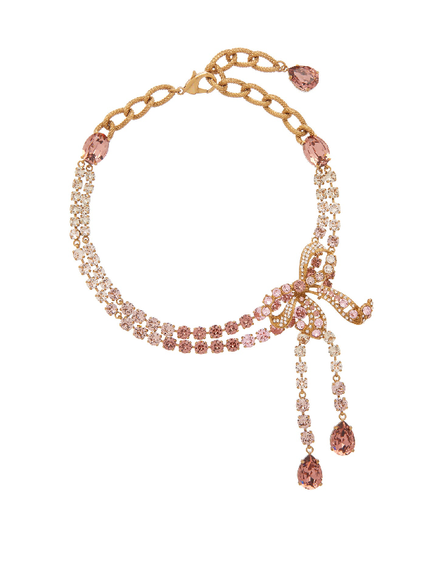 Dolce & Gabbana Christmas Bow Brass And Glass Necklace In Crystal