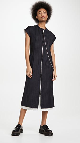 Acne Studios Zip-front Striped Dress Navy Blue