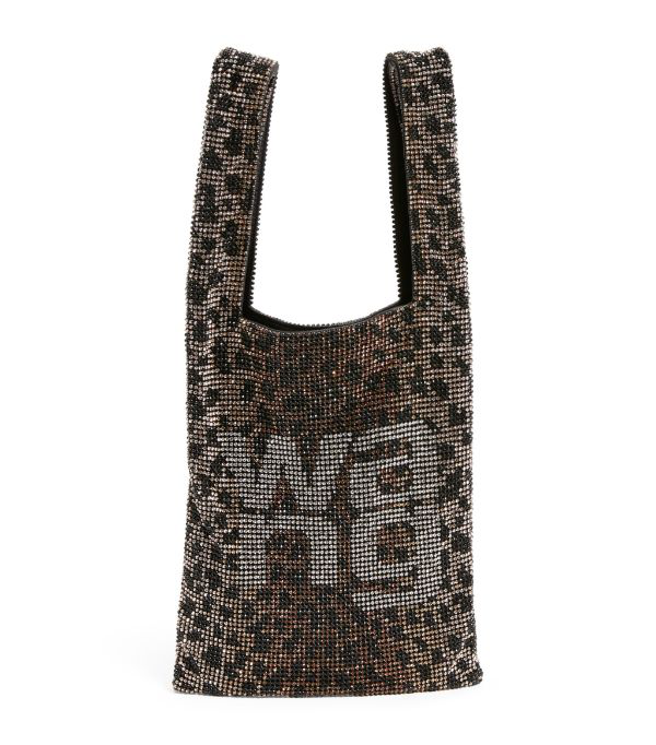 Alexander Wang Wangloc Mini Leopard-print Crystal-embellished Leather Tote In Leopard Print