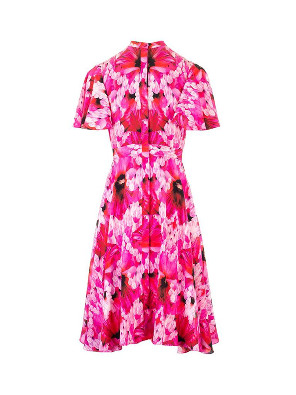Alexander Mcqueen Endangered Floral-print Silk-crepe Dress In Orchid Pink