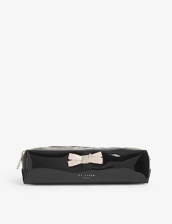 Ted Baker Franai Bow Detail Pvc Make-up Pouch. In Black