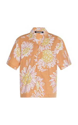 Jacquemus Jean Camp-collar Printed Cotton-poplin Shirt In Orange Flow