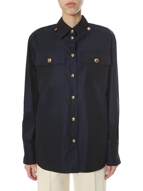 Givenchy Dual Flap Buttoned Pocket Buttoned Shirt In Blue